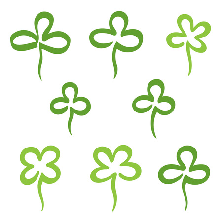 Set, collection of various hand drawn clover leaves. St.Patrick's day design elements, symbols, icons. Stylized simple marker drawn doodle style shamrock, trefoil, quatrefoil outline drawing.