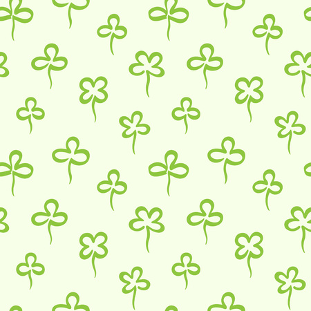 Various hand marker drawn clover leaves, shamrock seamless repeat vector pattern. St.Patrick's day, spring background. Stylized simple doodle style trefoil, quatrefoil outline texture. Foto de archivo - 116210537