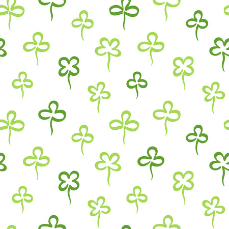 Various hand marker drawn clover leaves, shamrock seamless repeat vector pattern. St.Patrick's day, spring background. Stylized simple doodle style trefoil, quatrefoil outline texture. Foto de archivo - 116210538