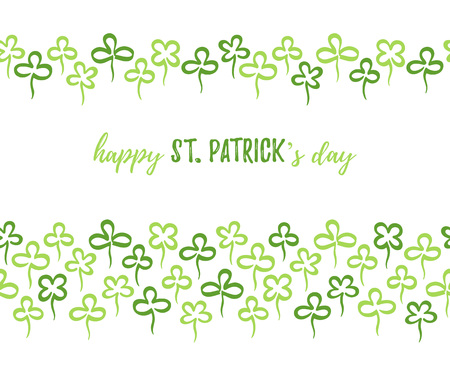 Happy St. Patrick's day card design with greetings. Hand drawn clover leaves border, frame seamless in horizontal direction. Spring background. Marker drawn doodle style shamrock, trefoil, quatrefoil Foto de archivo - 116210541