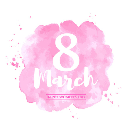 March 8, International Womens Day watercolor vector greeting card. Typographic composition with big eight and lettering. Pink watercolor stains rounded background, uneven circle shape. Foto de archivo - 116210542
