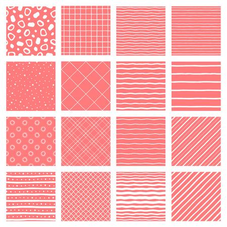 Set, collection of geometric seamless repeat patterns. Hand drawn diagonal parallel stripes, wavy streaks, doodle style waves, bars, uneven net, check, lattice, dots, spots. Trendy living coral color. Foto de archivo - 116210550