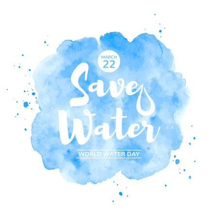 World water day watercolor vector illustration with water lettering, typographic composition. Isolated navy blue watercolor background with stains, splashes, blobs. Greeting or motivation card. Foto de archivo - 116210553