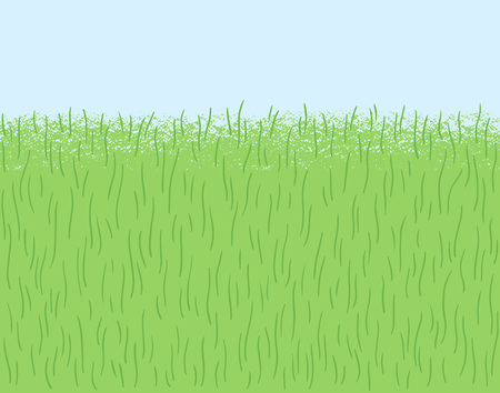 Hand drawn, stylized green grass, herb texture, pattern. Frame, border seamless in horizontal direction. Meadow, field, lawn vector illustration. Eco, vegan, spring, nature background. Textured edge Foto de archivo - 116210554