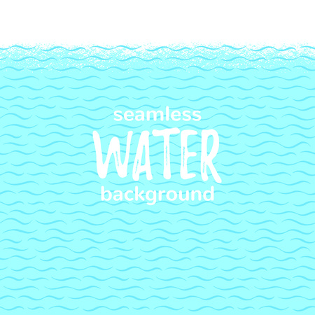 Sea, ocean, stylized swimming pool waves seamless horizontal border, frame. World water day background for banners, cards. Wavy hand drawn doodle style lines, stripes, streaks pattern, summer texture. Foto de archivo - 116210557