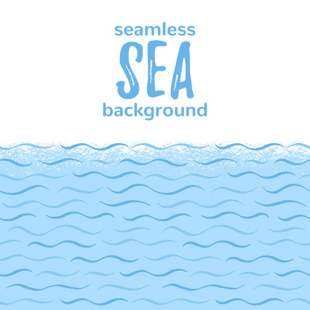 Sea, river waves, stylized water seamless horizontal border, frame. Marine, naval, nature, eco background for text, lettering. Wavy hand drawn doodle style lines, stripes, streaks pattern, texture. Foto de archivo - 116210558