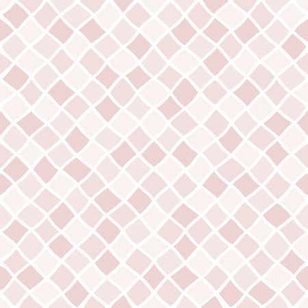 Natural, rose beige geometric fragment seamless vector pattern. Uneven, doodle style diagonal square, rhombus regular texture. Shades of human skin, foundation color chaotic mosaic tile background. Foto de archivo - 116210561