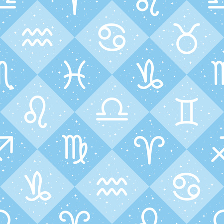 Flat style zodiac signs and stars, sparks seamless repeat vector pattern. Diagonal check, squares geometric chequered background. Zodiac icons, simple horoscope symbols astrological illustration. Foto de archivo - 116210563