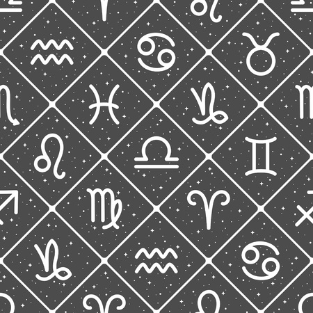 Flat style zodiac signs, night sky with stars, sparks seamless repeat vector pattern. Diagonal crossing lines, squares, rhombus background. Zodiac icons, horoscope symbols astrological illustration. Foto de archivo - 116210564