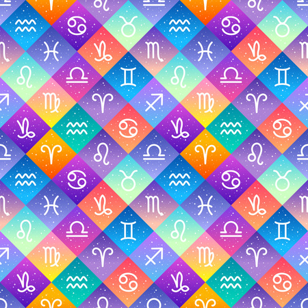 Flat style zodiac signs and stars seamless repeat vector pattern. Diagonal check, squares colorful gradient geometric  background. Zodiac icons, simple horoscope symbols astrological illustration. Foto de archivo - 116210566