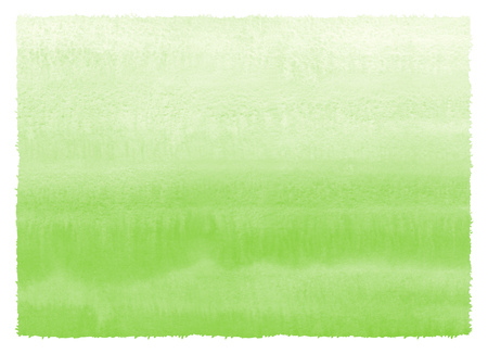 Grass green gradient watercolor painted background with rough, uneven edges. Hand drawn watercolour texture with parallel striped stains. Painted spring, Easter, vegan, eco horizontal template. Stock Photo