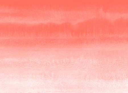 Bright watercolor gradient texture, textured aquarelle fill. Trendy living coral color, parallel striped watercolour stains. Painted hand drawn red, orange template for banners, cards, lettering. Imagens