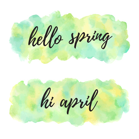Hello april spring vector watercolor illustrations. Banner, uneven rectangle shapes. Typographic composition. Painted nature, Easter, eco background. Watercolour green, yellow texture with stains. Foto de archivo - 116210573