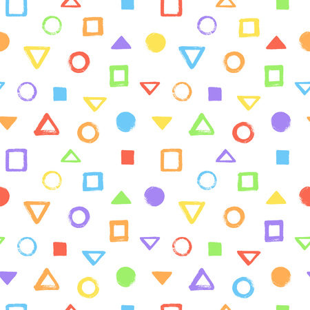 Colorful brush, crayon drawn geometric figures, objects seamless vector pattern. Triangle, pyramid, square, circle, round textured uneven shapes background. Rainbow colors abstract chaotic texture. Foto de archivo - 124355897
