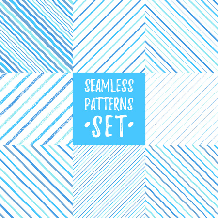 Set, collection of various blue diagonal seamless patterns. Chalk brush