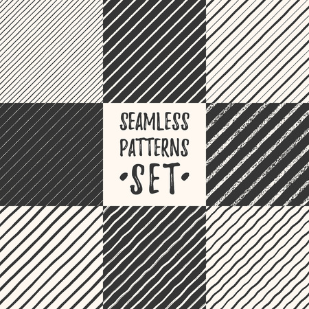 Set, collection of various hand drawn diagonal seamless patterns. Black chalk, brush, marker, crayon endless textured lines, stripes, pinstripes, lines