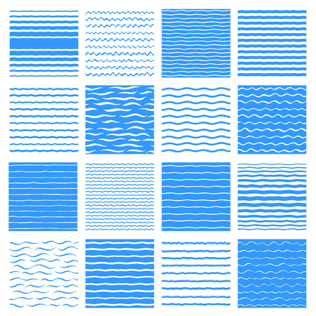 Separate waves, wavy endless stripes patterns set, collection. Winding streaks, bars, crooked doodle lines. Water, sea, river, marine, naval textures collection. Hand drawn stylized water backgrounds Foto de archivo - 124355902