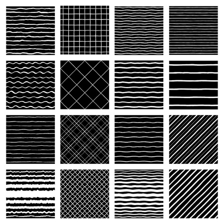 Collection of hand drawn textures. Diagonal doodle stripes, wavy pinstripes, streaks, waves, plaid, lattice, check backgrounds set. Uneven, deformed, crooked edge.