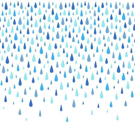 Autumn background. Water drops, rain drops border, frame made of hand drawn droplets, raindrops, tears. Seamless in horizontal direction. Aquatic rainy decoration, ornament. Çizim