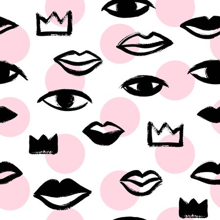 Brush hand drawn woman lips, crowns, eyes seamless vector pattern. Black and blush pink circles, beauty background. Stylized different trendy shapes texture. Ink illustration, rough edges.