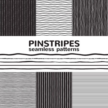 Set, collection of seamless vector striped patterns. Pinstripes, thin stripes, narrow streaks, uneven textured bars, wavy lines, waves. Black and white hand, brush, chalk, crayon drawn backgrounds.