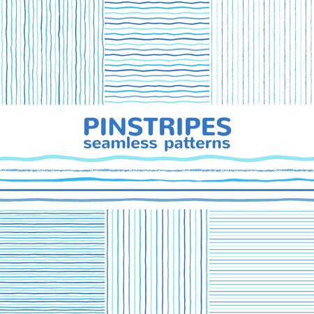 Set, collection of seamless vector striped patterns. Pinstripes, thin stripes, textured lines, uneven wavy lines, sea waves. Navy blue hand, brush, chalk, crayon drawn backgrounds.