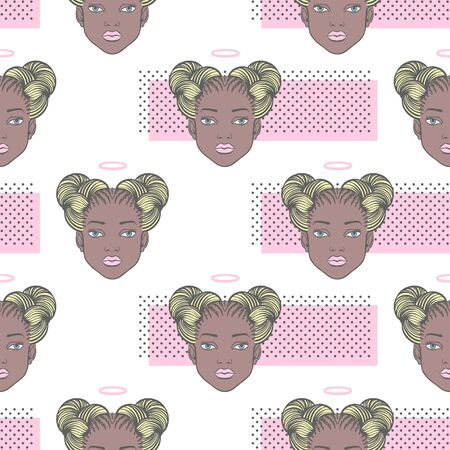 Black girl head with angel halo seamless vector pattern. Young African woman portrait, space buns afro braids hairstyle. Trendy dots, dotty texture. Beauty shop, fashion fantasy background concept.