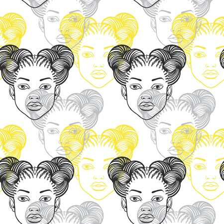 African woman head with afro hairstyle, cute black girl portrait seamless vector pattern. Space buns, braided hairs, braids. Hand drawn fashion background, beauty shop, barbershop salon template.