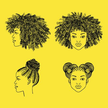 Black girl portraits with afro hairstyle. Curly, braided hairs, braids, ringlets, space buns. Beauty shop, barbershop salon hand drawn ink fashion illustration