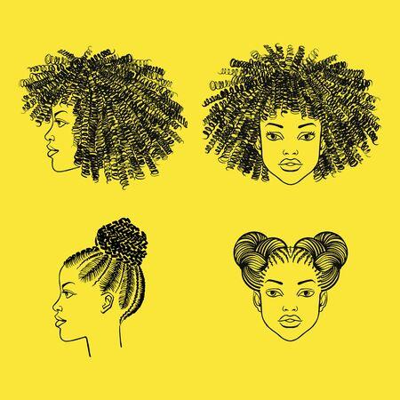 Portraits de fille noire avec coiffure afro. Cheveux bouclés, tressés, tresses, boucles, chignons spatiaux. Salon de beauté, salon de coiffure illustration de mode à l'encre dessinée à la main