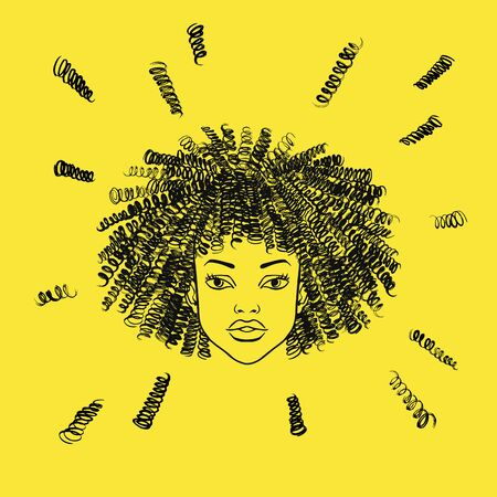 Hand drawn black girl portrait. Curly hairs, curls, ringlets, frizz. Beauty shop, barbershop salon concept sketch. Fashion illustration
