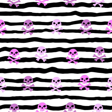 Crooked, uneven stripes, wavy streaks, pink pirate skulls, cross-bones seamless vector pattern. Hand drawn doodle style trendy fashion illustration. Halloween background.
