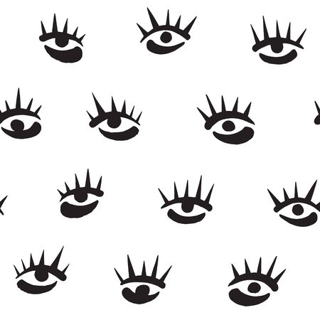 Brush hand drawn stylized eyes with eyelashes seamless vector pattern. Doodle style uneven edges. Surreal or fashion, beauty, makeup, cosmetics background. Black ink illustration, design elements.