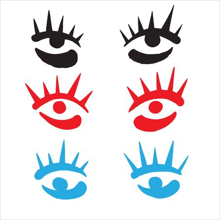 Brush hand drawn stylized eyes with eyelashes ink illustration. Stare, surprised, intent expressive look. Doodle style uneven edges. Surreal or fashion, beauty, makeup design element, print idea.