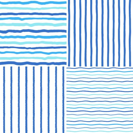 Collection, set of hand brush drawn striped seamless patterns, navy color textures. Crooked doodle blue sailor vest stripes, wavy uneven streaks, sea river water waves, bars marine naval backgrounds.