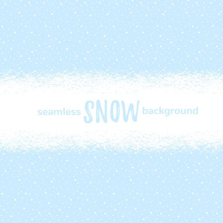 Snow horizontal seamless background. Snowy, snowbound ribbon, wide stripe, winter, New Year rectangle border, banner. Sky with falling snow, dots, round snowflakes texture. Brush hand drawn edge.