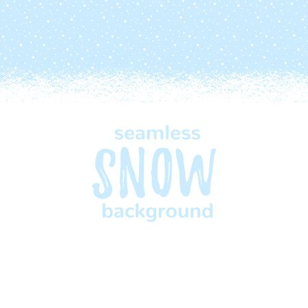 Snow-covered snowy, snowbound ground background landscape, horizontal seamless winter, New Year border. Blue sky with falling snow, snowfall, dots, round snowflakes texture. Brush hand drawn edge. Illustration
