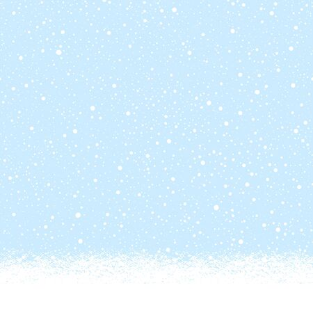 Snow-covered snowy, snowbound ground background landscape, horizontal seamless winter border. Blue sky with falling snow, snowfall, uneven dots, round tiny snowflakes texture. Brush hand drawn edge.