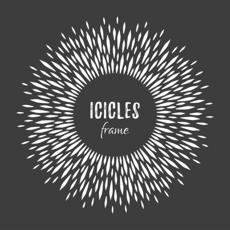 New Year, Christmas icicles round frame. Winter radial icy black and white background. Circle, ring made of floe, piece of ice crystals, frozen water droplets, drops. Glacial pattern, space for text. Ilustrace