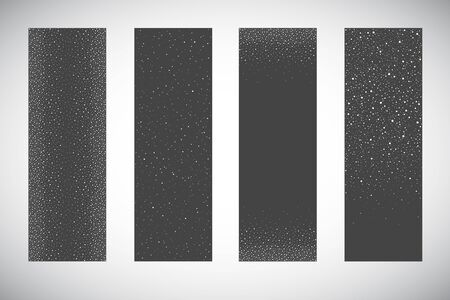 Vertical winter, New Year, Christmas banners design set. Falling snow, snowflakes, flakes borders, hand drawn dot frames. Splash, uneven spots, spray texture, pearls dotty backgrounds collection.