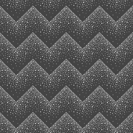 Geometric winter seamless repeat vector pattern. Zigzag ornamentation, decoration made of round snow flakes, uneven hand drawn dots, sparks, blobs, snowflakes, pearls, beads. New year border template. Иллюстрация