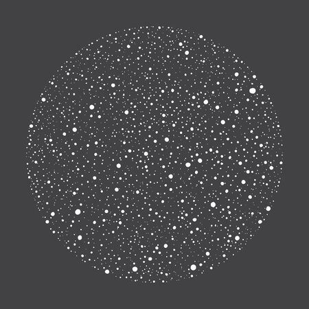Winter, New Year or cosmic, night sky background. Round, circle shape made of hand drawn falling snow, stars, sparks, uneven dots, snowflakes, splash, spray, paint splatter texture. Design element.