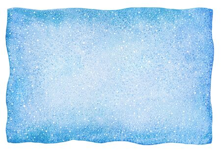 Winter watercolor rectangle background, frame. Falling snow splash, spray, dots texture. Christmas, New Year hand drawn painted template with uneven edges. Light, sky blue vignette watercolor stains. Banque d'images - 131732641