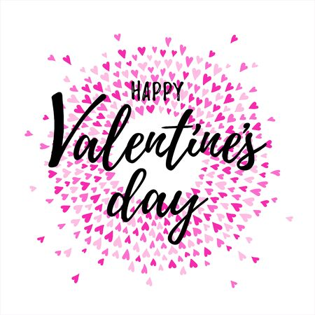 Happy Valentines day greeting card. Round heart splash, splatter, spatter frame with lettering. Circle, ring shape made of tiny hand drawn cute confetti pink hearts. Radial template, design element.
