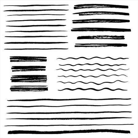 Conjunto, colección de líneas desiguales vectoriales, rayas onduladas, rayas de garabatos, barras, pinceladas ásperas. Elementos de diseño dibujados a mano, texto subrayado con bordes ásperos. Olas, garabatos, pancartas, plantillas de insignias. Ilustración de vector