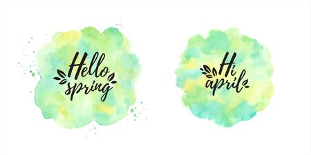 Hello spring, Hi april vector watercolor illustrations, design elements set. Round, circle shape. Typographic composition with leaves. Painted eco, nature background. Watercolor green, yellow texture