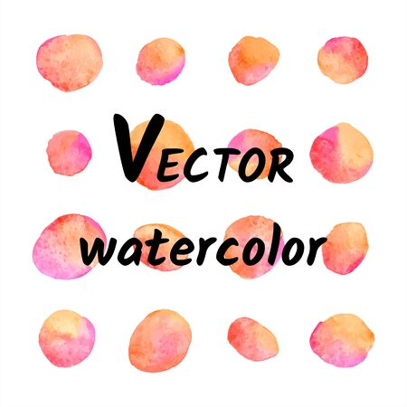 Colorful watercolor vector round orange, pink spots, uneven dots illustration, print design, text background. Watercolor blobs, circle shape stains, blots. Hand drawn painted square dot pattern.