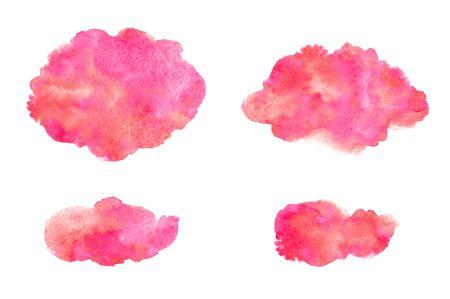 Aquarellstriche, ovale, abgerundete Formen, unebene Stellen. Rosa Aquarellflecken handgezeichnete gemalte Vorlage für Textbanner, Rahmen. 8. März, Valentinstag, Frauentag Hintergrund, Aquarellbeschaffenheit.