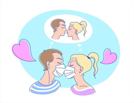 Kissing couple in protective medical face masks dreaming of real kiss. Vektorové ilustrace
