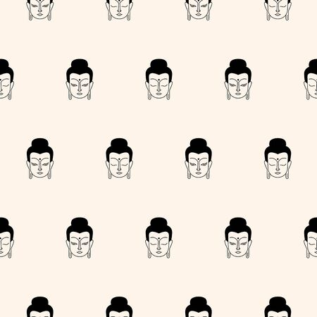 Buddha face, portrait, head seamless repeat vector regular pattern. Linear black and white flat drawing, line, outline illustration. Buddhist, indian, esoteric, yoga background, oriental template